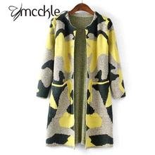 MCCKLE Long Sleeve Sweater Women 2016 Autumn Winter Fashion New Camouflage Long Knitted Female Cardigan Women's Trench ZY682
