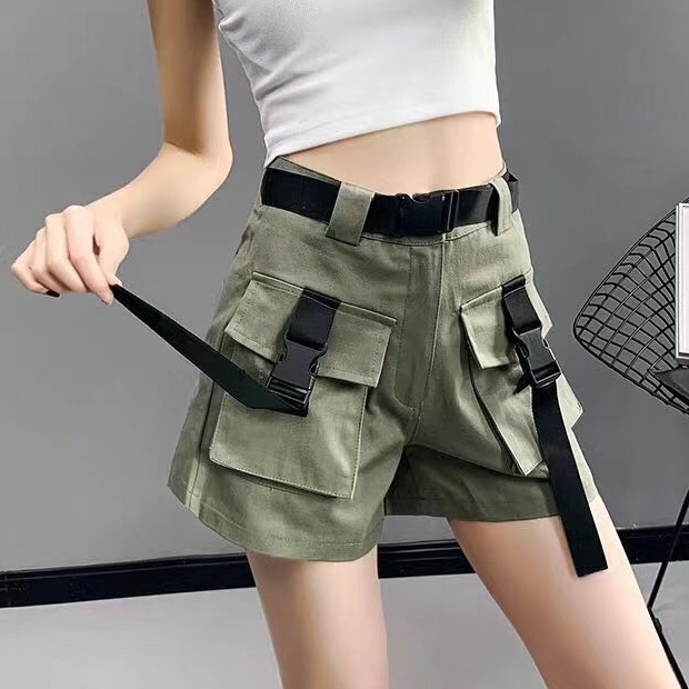 Summer Women Shorts High Waist Sashes Belt Pockets Short Pants Safari Style Plus Size Casual Army Green Femme Faldas Mujer
