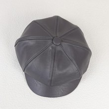 PU Leather Women Peaked Octagonal Cap