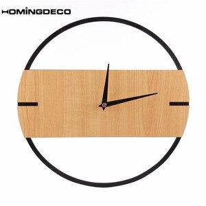 Винтажные настенные часы в стиле ретро, современный дизайн, простые деревянные настенные часы для спальни, домашний декор, Висячие часы с та...