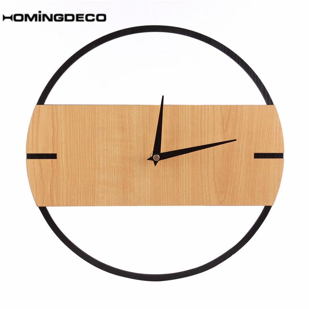 30cm Silent Wall Clock Vintage Retro Modern Design Simple Wooden Wall Clocks Bedroom Home Decor Hanging Watch Timer 2019 Hot