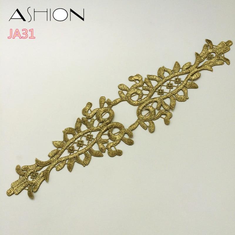 LP-JA31 metal de brodat de aur dantelă aplica guler floare de - Arte, meșteșuguri și cusut