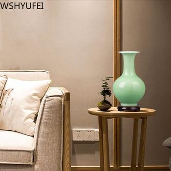 New Chinese Ceramic Vase Green Glaze Vase Fine and Smooth Hydroponic Plant TV Cabinet Wine Cabinet Decoration WSHYUFEI