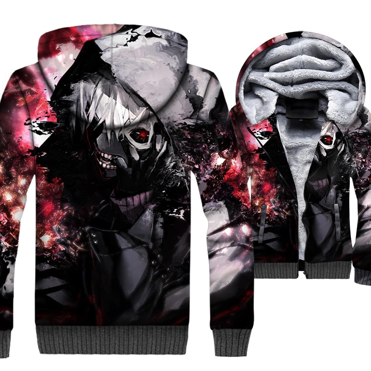 AnimeTokyo Ghoul Jacket Men Hip Hop Hoodie Mens Punk Sweatshirt Winter Thick Fleece Zip up Swag kaneki ken Coat High Quality 5XL