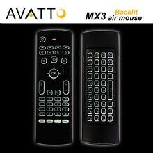 [AVATTO] MX3 II Retroiluminado IR Aprendizaje Backlight Gaming Keyboard Fly Air Ratón 2.4G Inalámbrico para Smart TV, caja Androide, Mini PC, X360