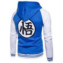 Tendencia japonesa Anime Dragon Ball Goku Varsity chaqueta con capucha 2018 marca Casual cremallera sudaderas chaqueta sudadera para hombres