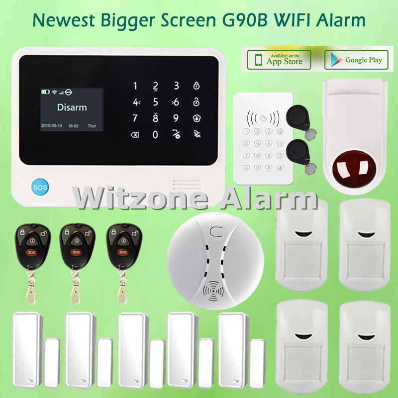 Two-way Intercom Spanish/Russian/Dutch/French/English Menu Option Android IOS APP Control WIFI GSM GPRS Controle Alarme Systems wifi gsm alarm systems security home alarma casas g90b android ios app remote control english spanish russian dutch word menu
