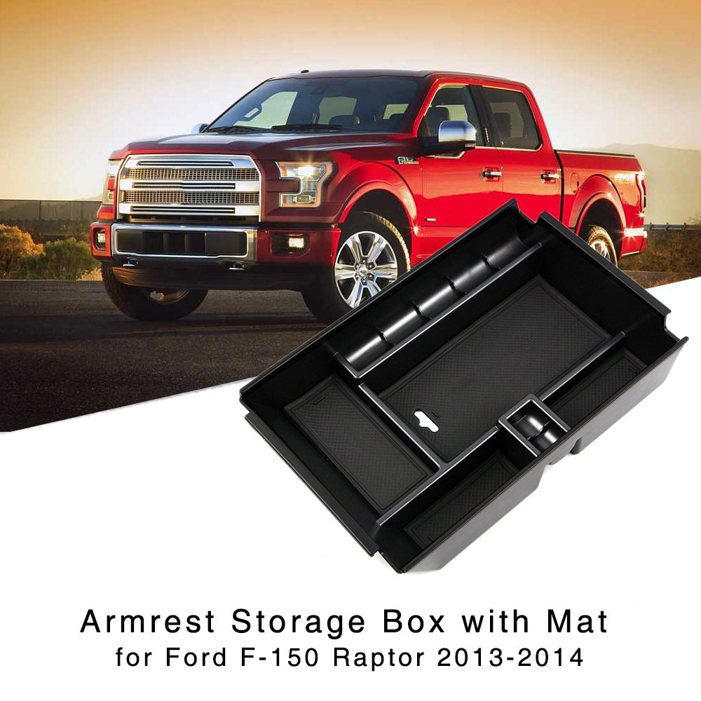 Armrest Storage Box for Ford F 150 Raptor 2013 2014 Central Console Glove Tray