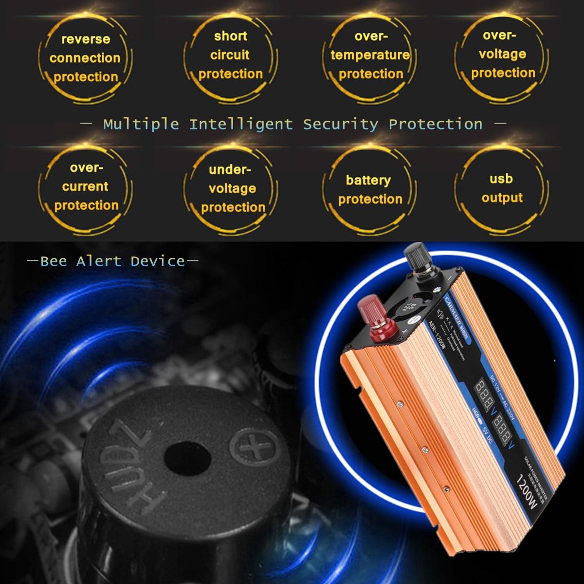 4000 Вт двойной ЖК-дисплей Smart Mute вентилятор автомобиль солнечной Мощность инвертор синусоида преобразователь DC 12 В к AC 220 В защиты безопаснос...
