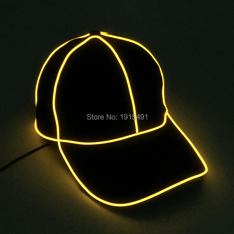 10Pieces Glamorous Adjustable Luminous EL Light Bulb Cotton Snapback Hat Neon Led Bulbs Masquerade Party Cap for Celebration