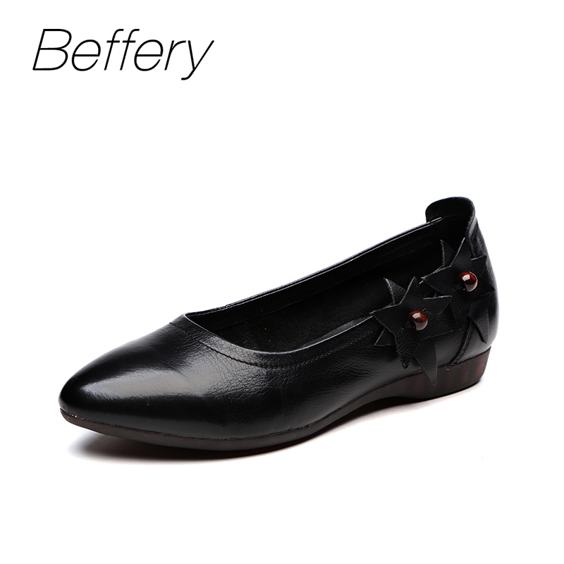 Beffery Spring Summer style Genuine Leather Flat Shoes Women Ultra-soft Casual Shoes For Women Retro Flowers Ballet flats A12062 cresfimix zapatos women cute flat shoes lady spring and summer pu leather flats female casual soft comfortable slip on shoes