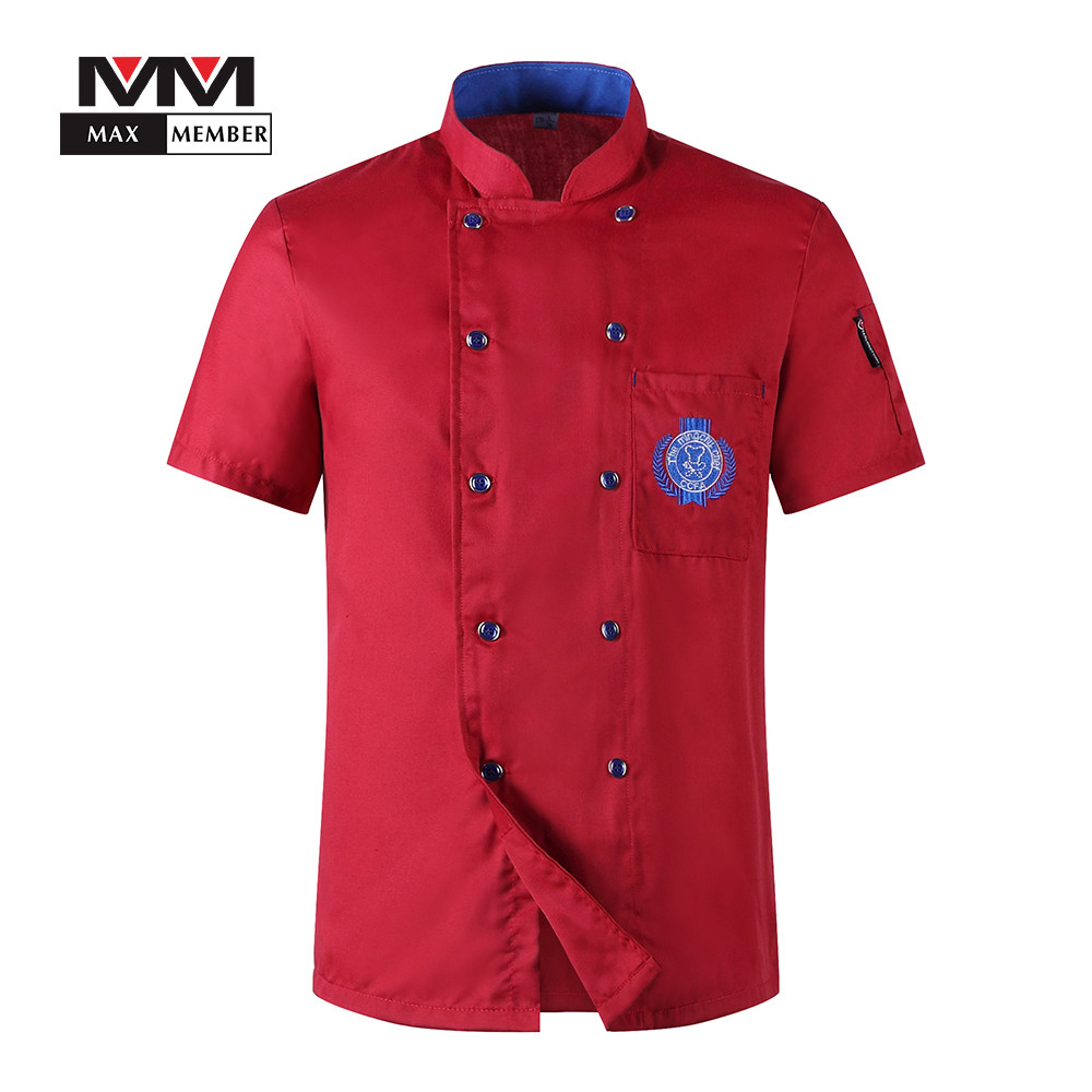 M-3XL Men Embroidery Badge Restaurant Chef Waiter Summer Work Double-breasted Kitchen Cook Uniforms Short-sleeved T-shirts Apron