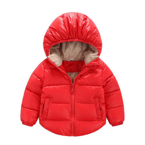 New outerwear coat fashion kids jackets for Boy girls Winter jacket Warm hooded children clothing Red 18M=80CM