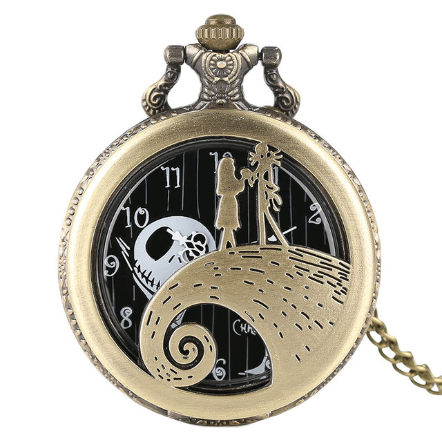 Modern Fashion Hollow Unique The Nightmare Before Christmas Theme Fob Pocket Wat