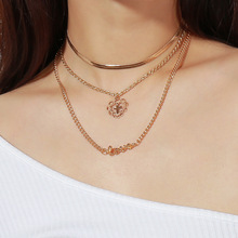Fashionable Personality Chao Oufan Street Beat Necklace with Alloy Cross Letter and Multi-layer Necklace