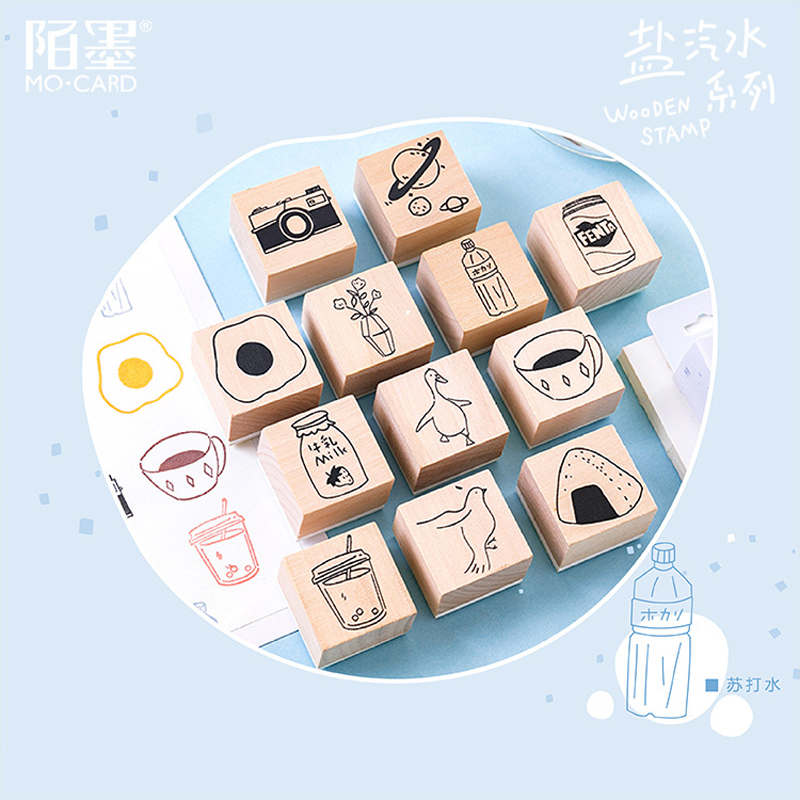 Vintage Cute Food Coffee Plants Stamp DIY Wooden Rubber Stamps For Scrapbooking Stationery Scrapbooking Standard Stamp 3x3cm