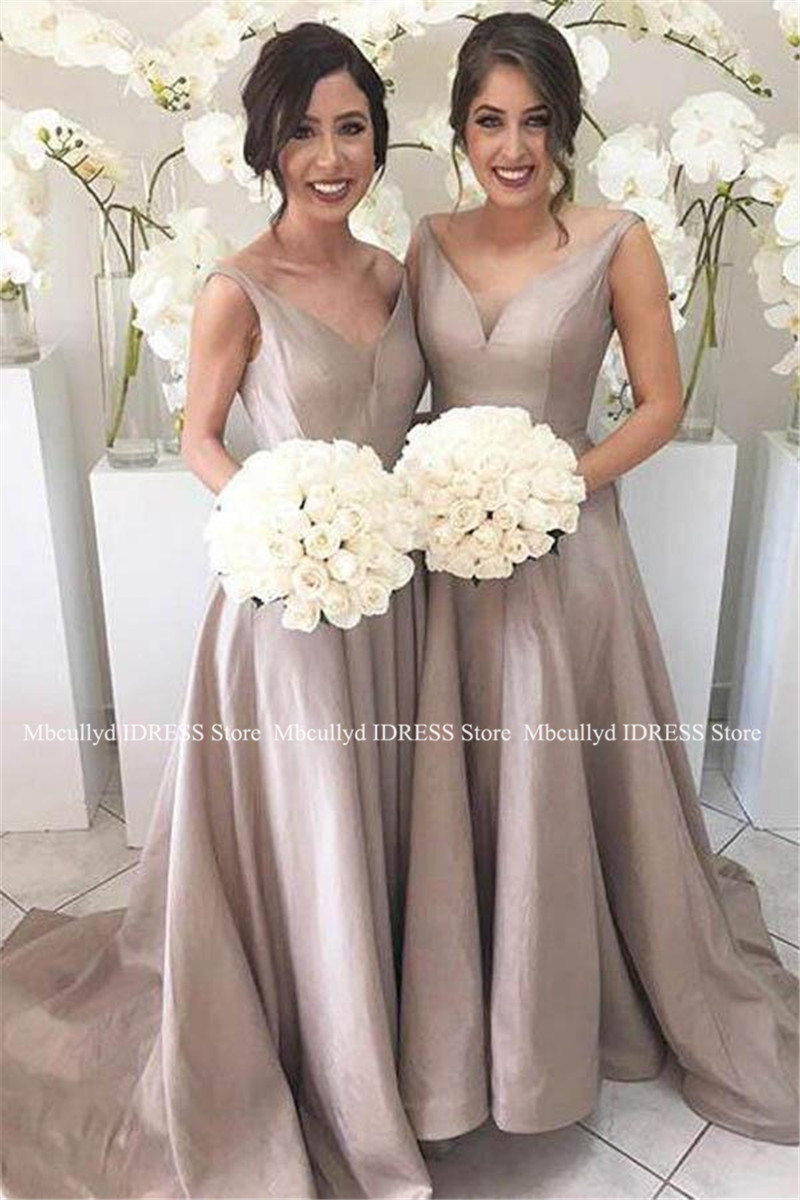Wholesale Price A-line Long   Bridesmaid     Dresses   For Women 2019 Sexy V-neck Maid Of Honor   Dress   Party Cheap Under 100 Custom Made