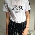 2016 Novo camisa WomensT diabo japonês chinês palavra Impressa T-shirt Tees Harajuku Camiseta Além Disso big Size S-3XL