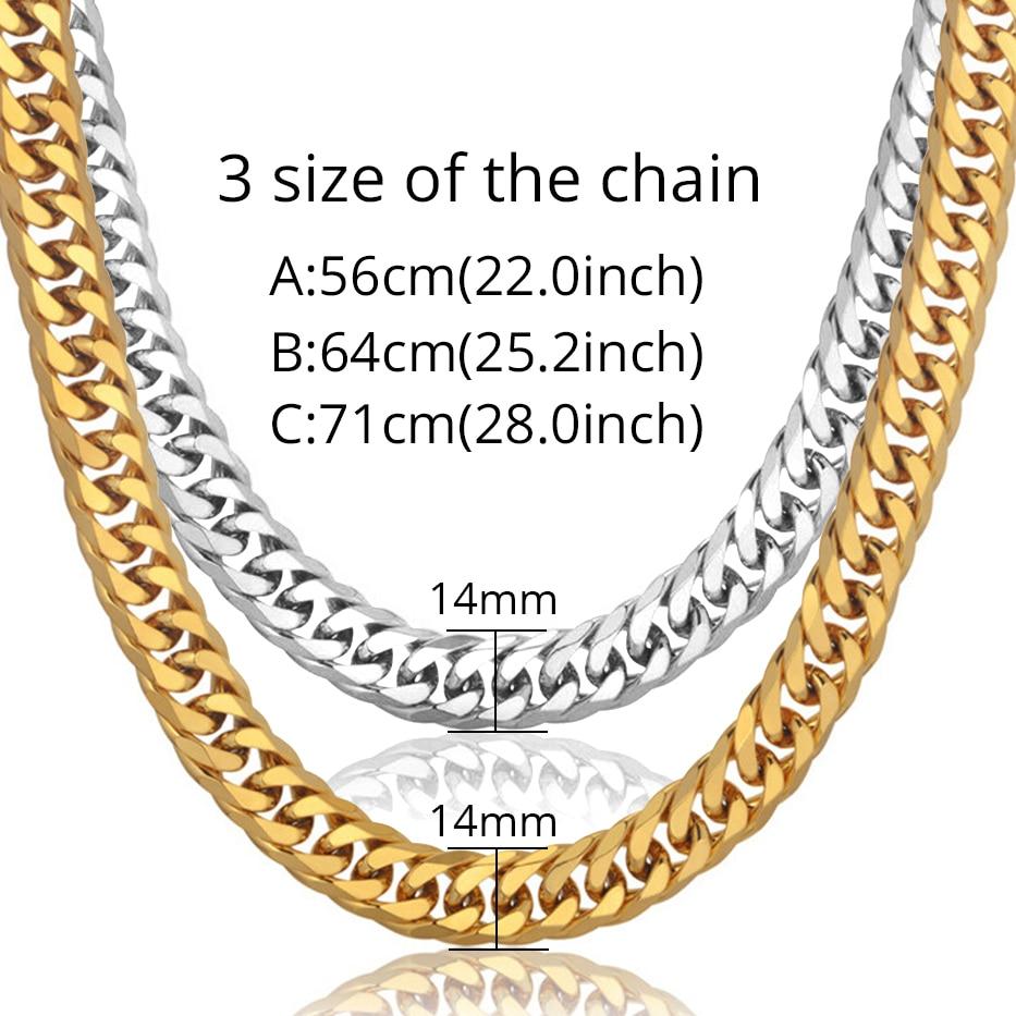 Image 3 - Мужское золотое ожерелье, цепи из нержавеющей стали золотого  цвета, толщина 14 мм, цепь на шею для мужчин, хип хоп украшения, оптовая  продажаЦепочки