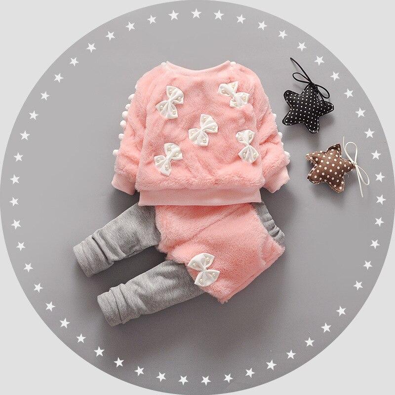 conjunto menina Autumn Winter Baby Girls Fleece Imitation Pearls Bow Pullover Sweatshirts + Pants Princess Sets Kids 2Pcs Suits