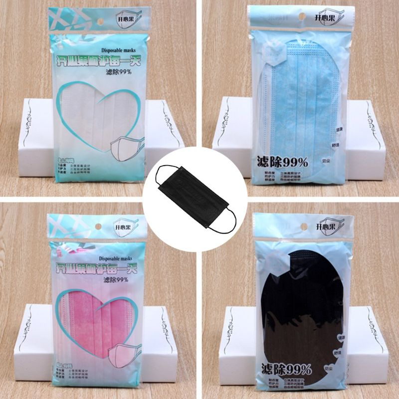 10 Pcs Unisex Solide Einweg Staubdicht Dünne Halbe Gesicht Mund Maske 3 Schichten Nicht-woven Chirurgische Medizinische Ohrbügel Schutzhülle Abdeckung Spezieller Kauf