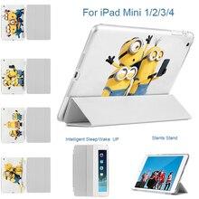 MTT for iPad mini 1/2/3 Case Minions take photo Fold Stand Case Cover with Auto Sleep / Wake Feature for Apple iPad mini 1 2 3 4