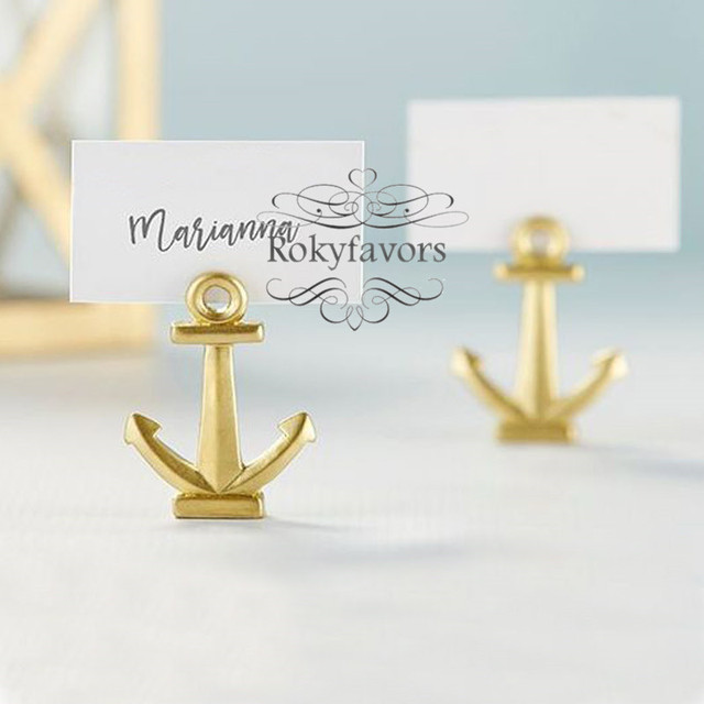 12PCS Gold Anchor Place Card Holder Wedding Favors Nautical Theme Party Shower Ideas Event Birthday Table Decors Supplies