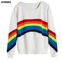 Women Knitted Sweater Pullover Fashion Runway Design Rainbow Patchwork Harajuku Loose Winter Pullovers Tops Jumper Pull Femme