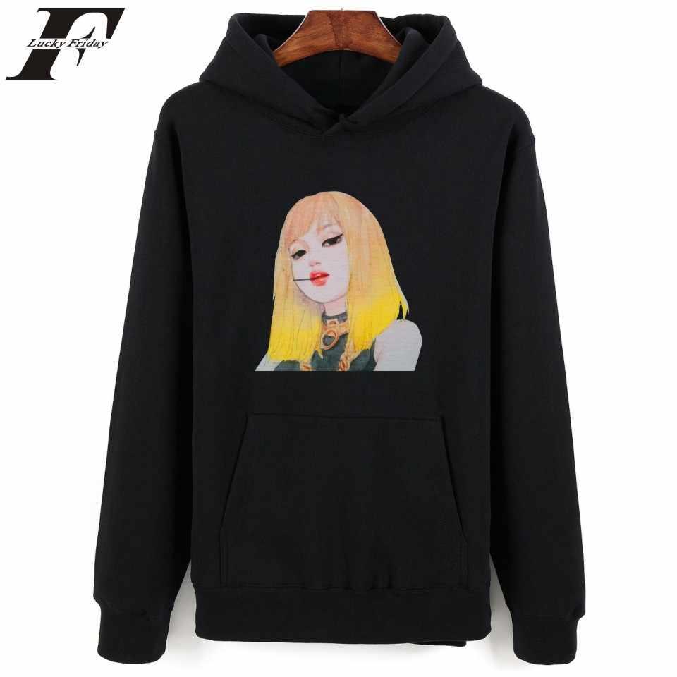 Koreański popularny Blackpink z kapturem bluza kobiety bawełna zima moda Hip Hop długie bluzy z kapturem kobiety na co dzień Kpop czarny śmieszne ubrania