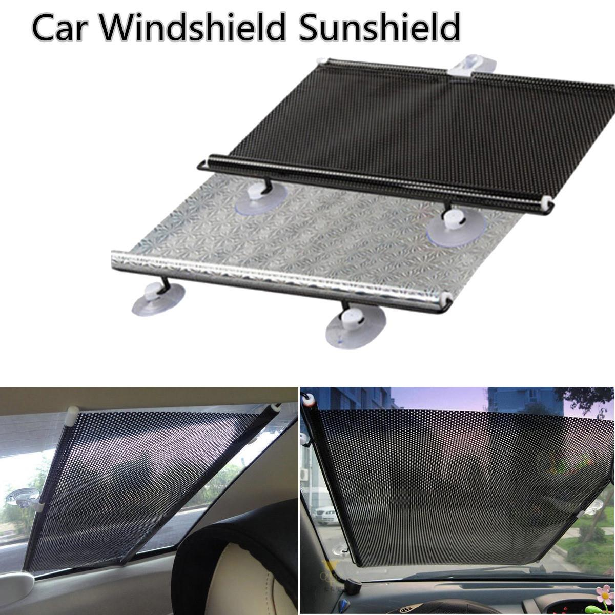 Tamaño grande persianas auto retractable car cortina ventana parabrisas visor Sol escudo frontal trasera Sol Sombras Shield exterior