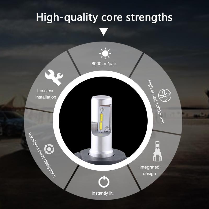 """""""AcooSun H4 H7 LED"""" automobilių priekiniai žibintai 12V H1 - Automobilių žibintai - Nuotrauka 3"""