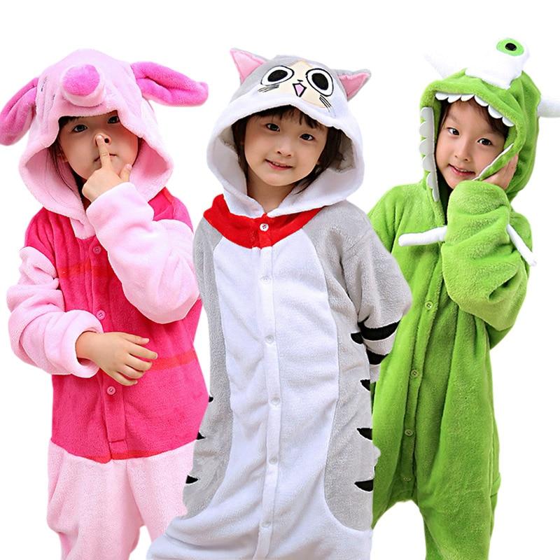 28 NEW Kids Animal Pajamas Set Boys Girls Pegasus Pig Rabbit Cosplay Pyjamas Children Flannel Sleepwear Onesie Winter Hooded