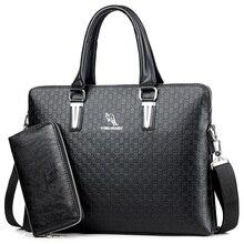 KANGAROO Famous Brand Men Briefcases Leather Handbag Vintage Laptop