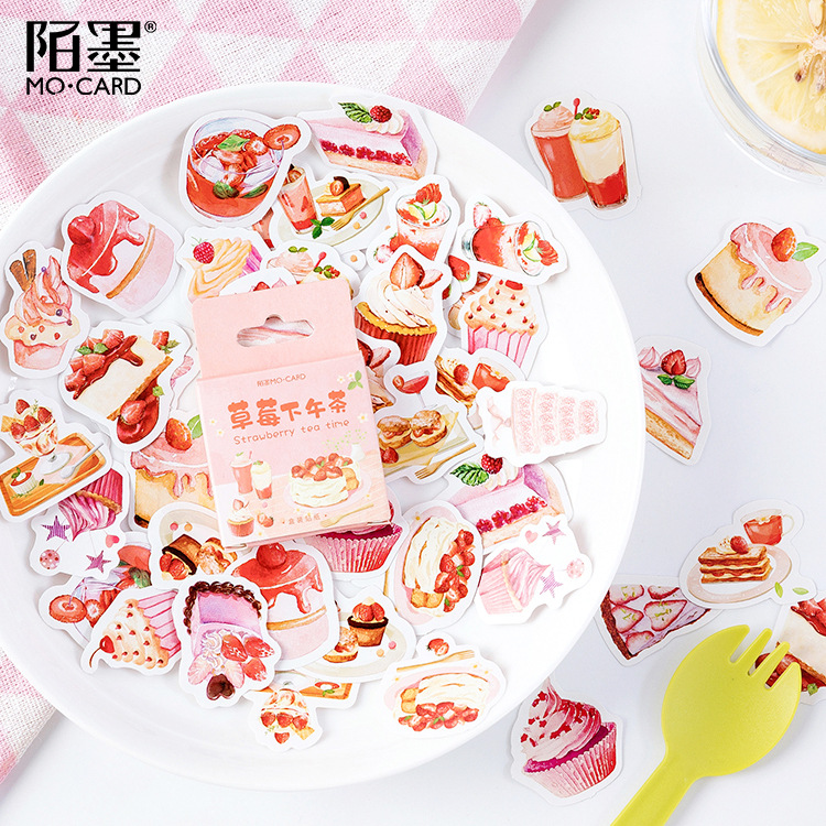 Creative Strawberry Afternoon Tea Mini Decorative Kawaii Cute Stickers Scrapbooking Flakes Journal Stationary Deco