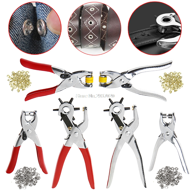 128Pcs/Set Leather Hole Punch Repair Tool Eyelets Grommets + Pliers Kit New D14 hydraulic knockout tool hydraulic hole macking tool hydraulic punch tool syk 15 with the die range from 63mm to 114mm
