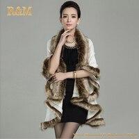 [Runmeifa]高品質ロングウールカシミヤフェイクキツネの毛皮のコート女性ポンチョダブルカーディガンフリーサイズ