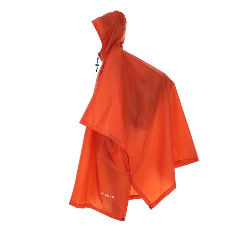 3 в 1 плащ-рюкзак дождевик капюшон для пешего туризма Велоспорт дождевик пончо водонепроницаемый тент для кемпинга коврик для палатки - Цвет: Orange .