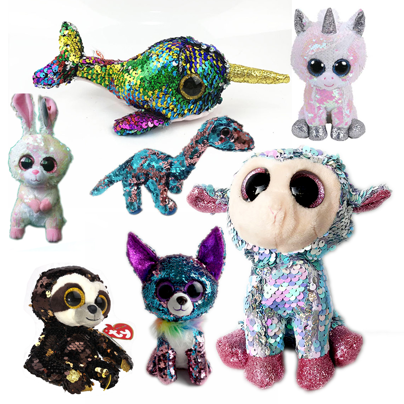"Ty Beanie Boos 6"" 15cm Sequin Unicorn Chihuahua Sheep Rabbit Sloth Dinosaur Wolf Duck Bear Stuffed Animal Collection Doll Toy"