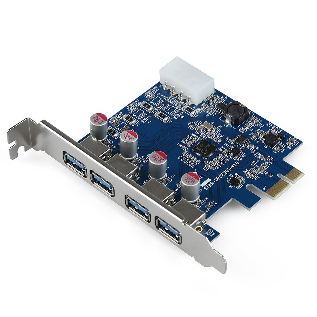 4-Port SuperSpeed USB 3.0 PCI-E PCI Express Card con 4-pin IDE Connettore  di Alimentazione NEC uPD720201 52253e7f11c