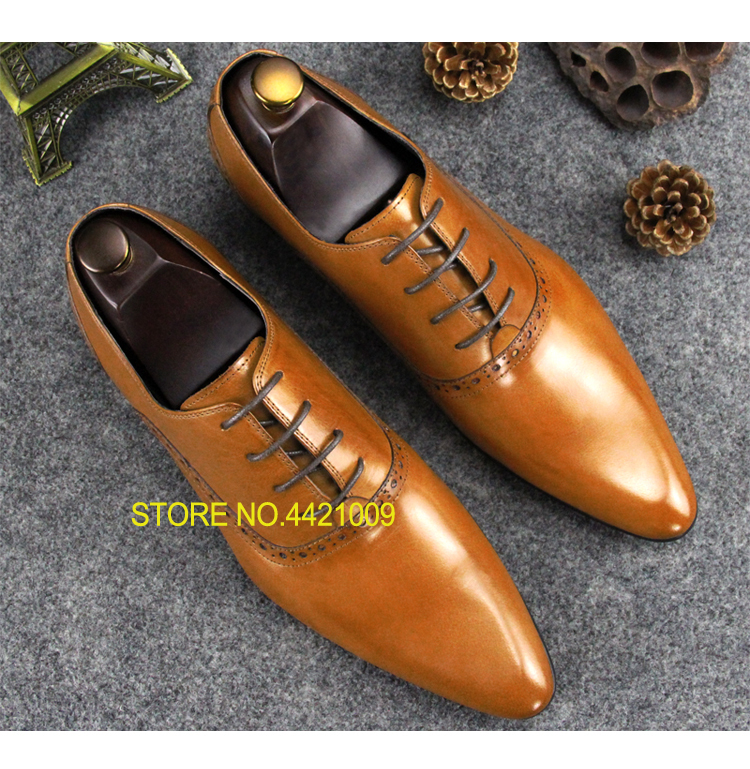 Pointed Toe Men Italian Derby Oxfords Shoes Lace up Yellow Black Wine Spring Autumn Runway Fashion Wedding Dress Oxfords ShoesPointed Toe Men Italian Derby Oxfords Shoes Lace up Yellow Black Wine Spring Autumn Runway Fashion Wedding Dress Oxfords Shoes