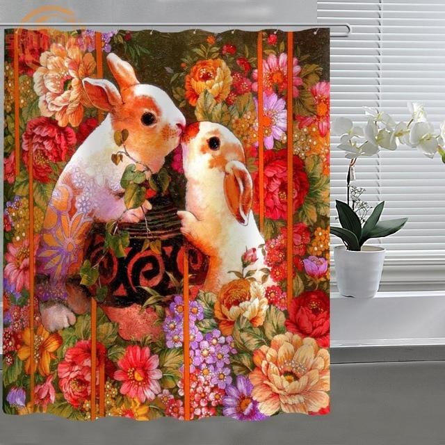 Art Painting Cartoon Rabbit Shower Curtain Eco Friendly Modern Fabric Polyester Custom Home Decor H331D53CF