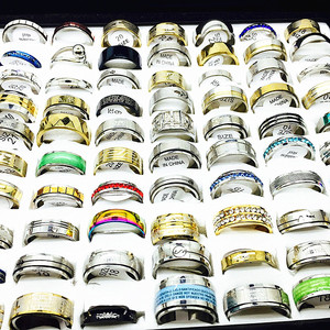 Image 1 - MIXMAX ensemble de bagues pour femmes, vente en gros, 100 pièces, ensemble de bagues en acier inoxydable, couple, bijoux, cadeaux de fête, livraison directe