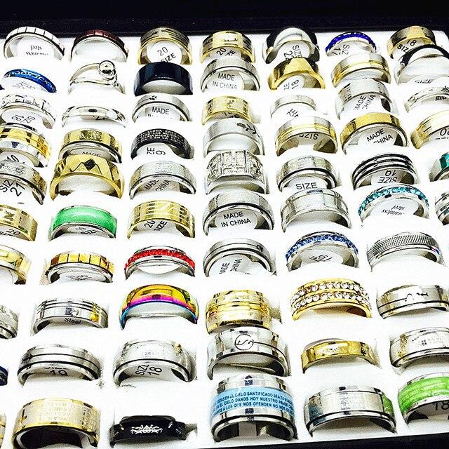 MIXMAX ensemble de bagues pour femmes, vente en gros, 100 pièces, ensemble de bagues en acier inoxydable, couple, bijoux, cadeaux de fête, livraison directe