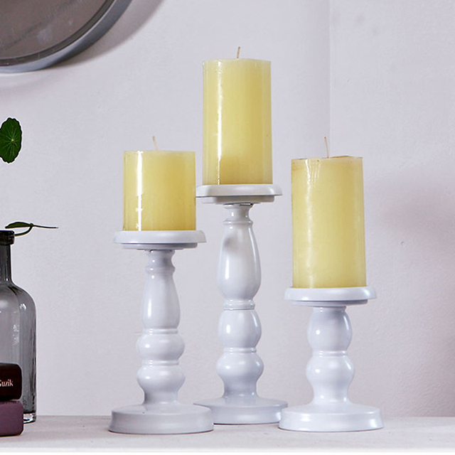 831dfe9ed4 3 Size Elegant Candle Holder Stand Tabletop Candle Candlestick Iron  MetalCraft Votice Candles home Wedding Candle Holders white
