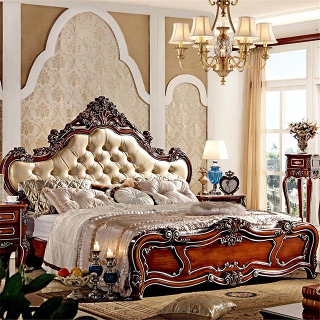 Fabulous Europäischen stil luxus könig größe holz schlafzimmer möbel VF84