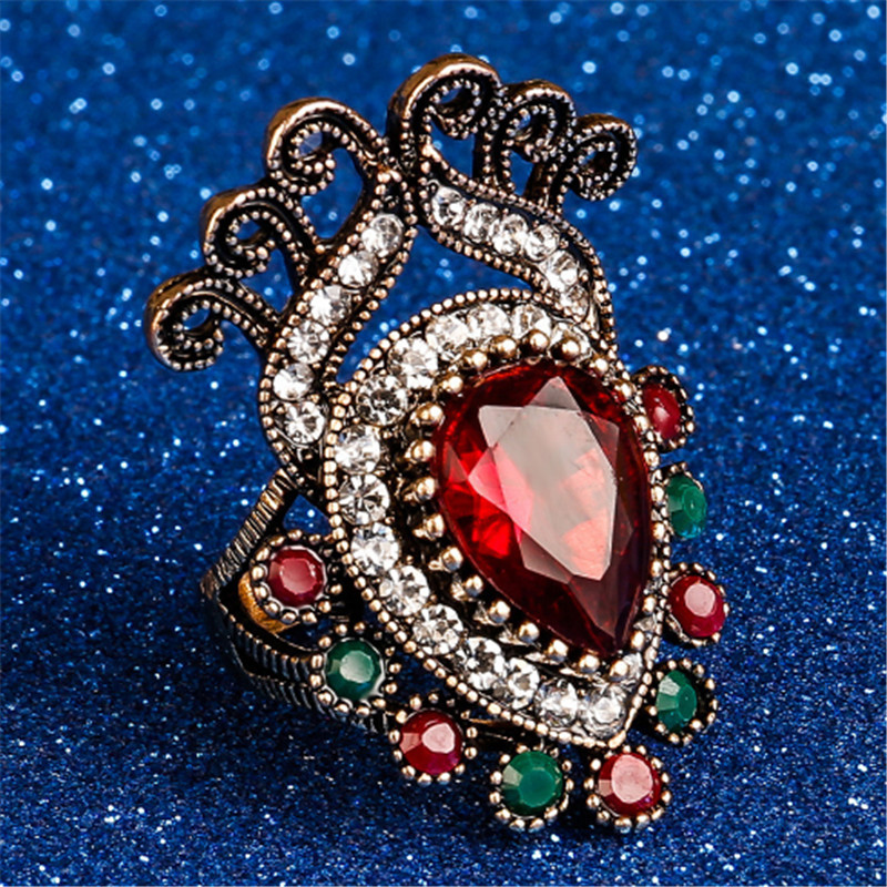 Fashion 2017 Vintage Big Ring Size 7 8 9 10 Antique Gold Color Mosaic Colorful Resin Rings For Women Anel Bijoux Turkish Jewelry