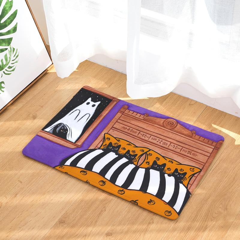 cartoon flannel carpet cat daily printing mat for living room 40x60cm 50x80cm door mat rectangle tapete