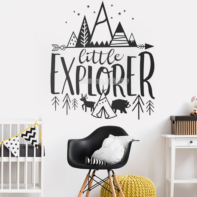 Little Explorer Wall Decals Quotes Kids Room Cute Adventure Stickers Nursery Decor Art Woodland Mural Home