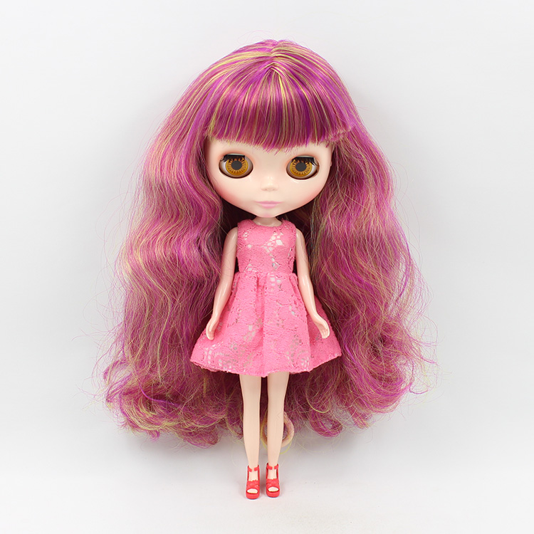 12 inch B female Nude Doll Blyth DIY Make up Purple Long Hair With Bangs Doll Toys For sale