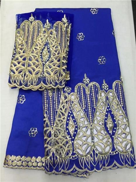 Tela de encaje LJNigeria George con diamantes de imitación azul real India seda Africana George encaje tela y blusa bordado tela de seda-in encaje from Hogar y Mascotas    1